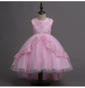 Kids white pink jazz dance dress priness flower girls stage performance model show chorus dresses with bowknot